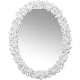 Spiegel: Moderne Romantik Dieser reizende Wandspiegel blüht Tag und Nacht und sorgt für echten Blütenzauber. Die ovalen Spiegelfläche wird stilvoll und poetisch eingefasst von einem Rahmen voller Blüten. Auch in Chrom erhältlich.