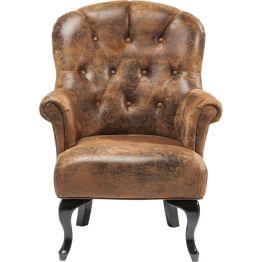 Stuhl: Vintage Chic Der Stuhl der Serie Cafehaus verbindet den Komfort eines Sessels mit der Sitzhöhe eines Stuhles und ist somit ideal für den Esstisch geeignet. Markanter Bezug in Vintage-Optik. Weitere Farben erhältlich.