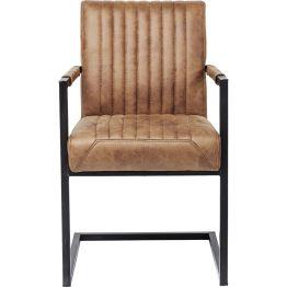 Stuhl: Modern Retro Dieser lässig gestylter Freischwinger besticht mit seiner coolen Retro-Note der durch die bewusste reduzierte Gestaltung dennoch sehr modern wirkt. Seinen besonderen Reiz erhält dieser Stuhl durch den abgesteppten Sitz und Rücklehne. Dieser Polsterstuhl ist auch in der Farbe Braun und als Version ohne Armlehne erhältlich.