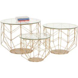 Beistelltisch: Feines Linienspiel Der Tisch wirkt wie skizziert und zelebriert die Eleganz des Minimalistischen. Auf einem fein gezeichneten runden Gestell mit schlanken Metallstäben ruht eine Tischplatte aus Spiegelglas. Eine moderne und raffiniert gestaltete Komposition