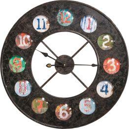 Bunte Ziffern in zwölf runden Kreisen Eine bunte runde Sache mit 70 Zentimetern Durchmesser. Auf einem runden Eisenrahmen umkreisen zwölf verschieden gefärbte Ziffern die Umlaufbahn der Zeit. Jede Stunde hat ihre eigene