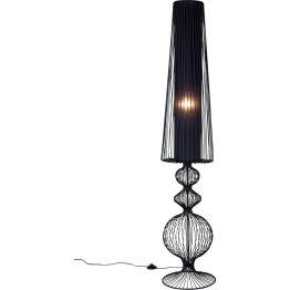 Lampe: Kunstvolles Lichtobjekt Filigran und zugleich spannungsvoll gestaltet setzt diese Stehleuchte mit ihrem Schwarz lackierten Gitterwerk ausdrucksstarke