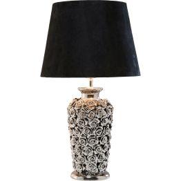Lampe: Verschwenderisch reiche Rosenfülle Der Fuß dieser Lampe ist überreich mit kleinen