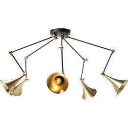 Lampe: Lauschangriff von oben Wie ein gewiefter Spion platziert sich die Hängelampe Trumpet Copper Spider über Sitzgruppen und leuchtet das komplette Umfeld gezielt aus. Die trompetenförmigen Schirme erinnern dabei in ihrem metallenen Look an alte Grammophone