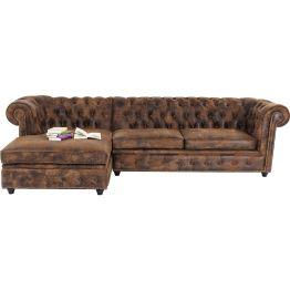 Sofa: :Vintage Chic Dieses klassisch gediegene Ecksofa im legendären Chesterfield Stil ist ein echtes Schmuckstück. Ausgewogene Proportionen