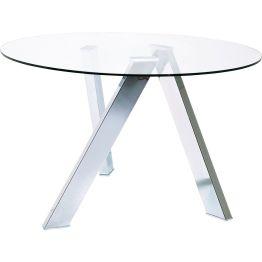 Esstisch:Eleganter Tisch in bestechendem Design Zeitloser Tisch mit runder Glasplatte und drei quergestellten Tischbeinen aus Stahl. Die Tischplatte liegt stabil und gut verarbeitet auf den drei Befestigungen auf. Der Tisch besticht mit seiner eleganten Note und der filigranen Optik. Die Beine haben eine hoch glänzende Oberfläche