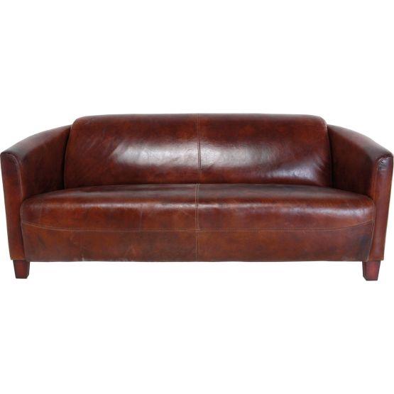 Sofa: Elegantes Sofa im Cigar Lounge Stil Wunderschön und edel! Das Sofa Cigar Lounge scheint einer eben solchen entsprungen zu sein: Es besticht mit seinem Bezug aus hochwertigem Top Grain Rindsleder