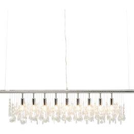 Lampe: Lichtreflexe in modernem Barock Klassisch und doch einzigartig kommt diese raffinierte Leuchte daher. Die liebevoll geschliffenen Glaselemente formieren sich zu einem fulminanten Lichtspiel und verleihen dieser Lampe einen modernen Charakter. Ohne auf zusätzliche Schnörkel und Ornamente zu setzen schafft die Deckenleuchte Klunker barocke Raumakzente. Das puristisch gehalteten Gestell aus verchromten Metall bildet einen gelungen Kontrast zu den opulent verzieren Klunkern.