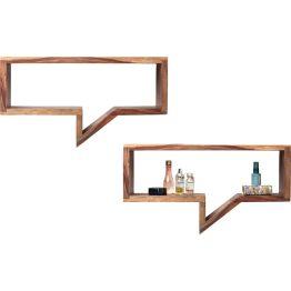 Regal: Sprechblase 2.0 Set aus zwei vom Comic-Stil inspirierten Wandregalen in unterschiedlicher Größe. Eigenen Inhalten sind hier fast keine Grenzen gesetzt. Tolle Verbindung von kreativem Design und Funktionalität. Material: Sheesham-Holz.