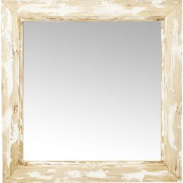 Der quadratische Spiegel im Shabby Chic zaubert ein behagliches Flair in den Wohnraum. Besonders hübsch wirkt er im Schlafbereich sowie in Flur und Diele. Der breite Rahmen wirkt wie abgeblättert und macht den Reiz aus.