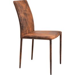 Stuhl: Eleganz der klaren Linie Dieser Stuhl zeichnet sich durch seine spannungsvolle Kombination aus schlichter reduzierter Formgebung und der Leder-Optik in Vintage Machart aus. Eine stilvolle Symbiose