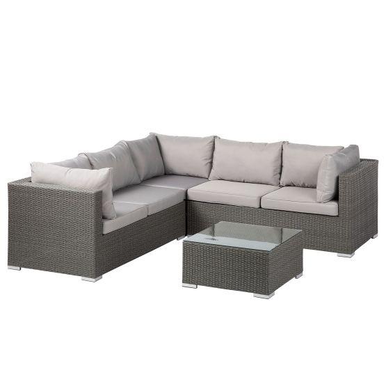 Loungeset Paradise Lounge I (4-teilig) - Webstoff / Polyrattan - Hellgrau / Grau
