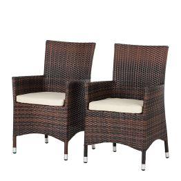 Gartensessel Paradise Lounge (2er-Set) - Polyrattan - Braun meliert