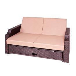 Funktionssofa Vence (2-Sitzer) - Polyrattan Braun - Inkl. Polsterkissen - Ohne Schutzhülle