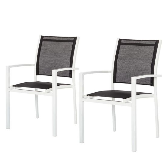 Gartenstuhl Linu (2er-Set) - Aluminium / Textil - Weiß/Dunkelgrau