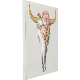 Bild: Wunderschönes Wandbild mit dem Wow-Effekt Das Geweih hat definitiv den Wow-Effekt: Die Details sind teilweise handgemalt und machen jedes Wandbild zu einem Unikat. Die rosa Blüten schmücken den Kopf des Schädels und verleihen dem düsteren Motiv eine liebliche Aura.