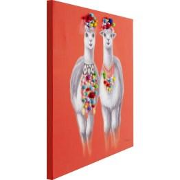 Bild: Exotisch und farbenfroh Die süßen Lamas und Alpakas sind in allen Variationen die neuen Trend-Lieblinge. Fröhlich bunt ist dieser Bilderdruck auf Leinwand