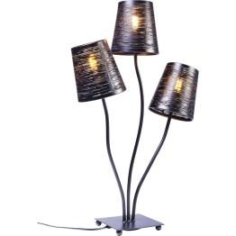 Bringt Schwung ins Styling! Gleich drei zierliche Lampenschirme tanzen als hübsche Leuchte auf dem Tisch. Oder wo auch immer Sie ein Beispiel Ihres guten Geschmacks platzieren wollen. Dank der geringen Tiefe von nur 16 cm passt Flexible sehr gut auf das Fensterbrett und andere schmale Flächen. Die Farbe Schwarz bricht den leicht verspielten Look ebenso wie die Durchbrüche im Lampenschirm