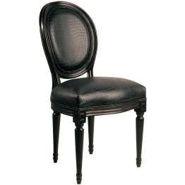 Stuhl: Tiefschwarzer Barock Die Kombination aus klassischem Formenschatz und extravaganter Stoffwahl zeichnet diesen wunderschönen Polsterstuhl aus! Die Formensprache mit der oval geformten Rückenlehne und den elegant gestalteten Beinen