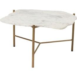 Eine echte Naturschönheit: Die Marmorplatte ist organisch geformt mit einer rohen Kante