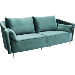 Stilvoll relaxen im glamourösen Sixties-Look: Wer so ein einladendes Sofa im Samt-Look auf eleganten Goldfüßen im Wohnzimmer hat