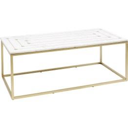 Was für ein cooler Retro-Glam! Marmor und Messing gepaart mit grafischem Minimalismus-Design macht diesen rechteckigen Coffee-Table zum eleganten Hingucker. Besonders elegant: die geometrischen Messing-Intarsien. Auch als Zweier-Set mit runden Tischen erhältlich.