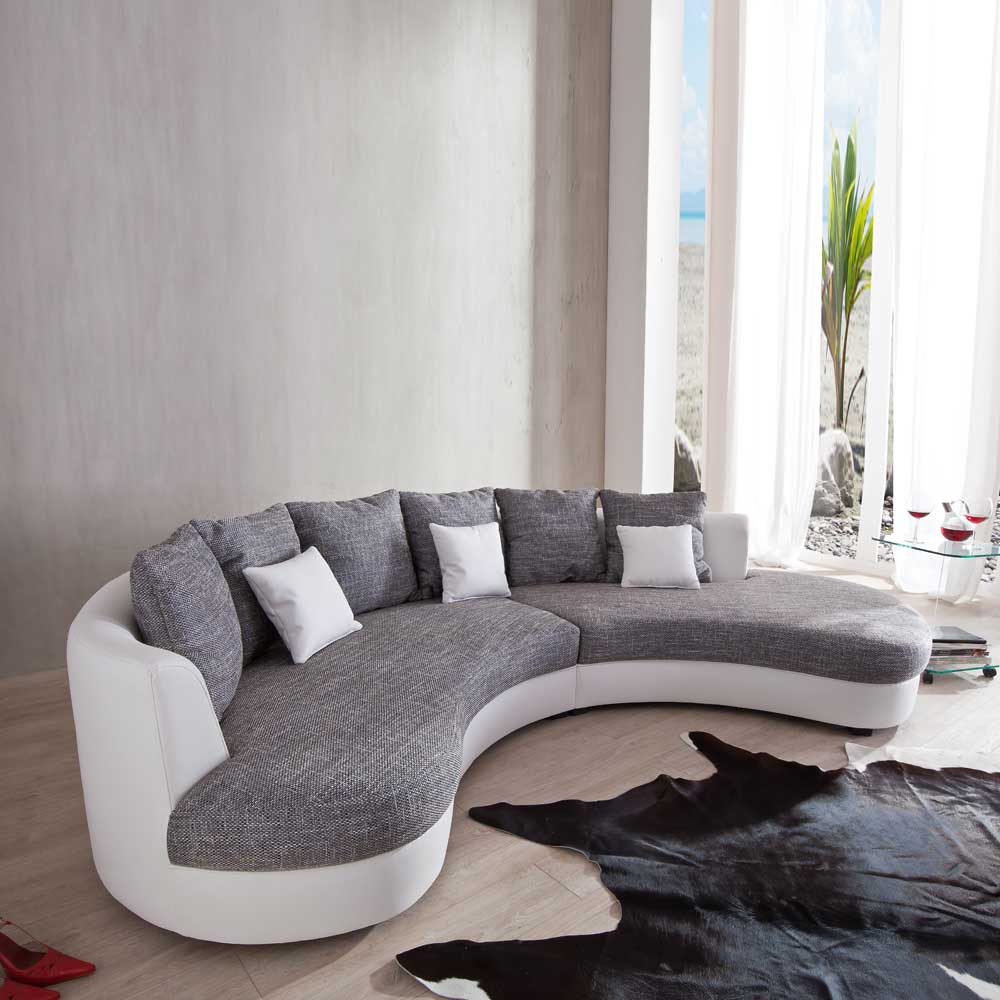 Couch in U-Form Weiß Grau - moebel-Liebe.com