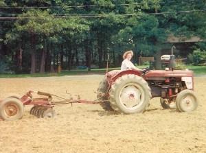 Maureen working her Dad's fields.
