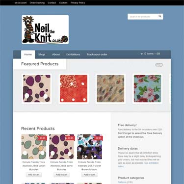 Neil the Knit web yarns and knitting pattern shop designed by Moghill Web Services