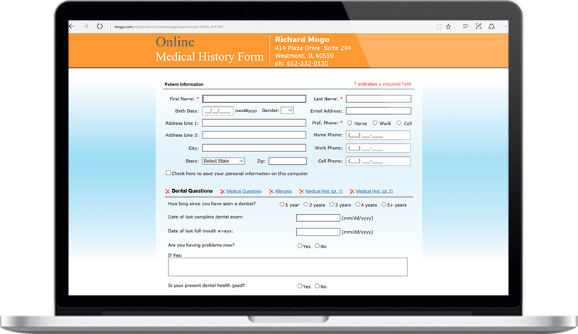 Secure Online Medical History Feature in Dental Practice Management Software