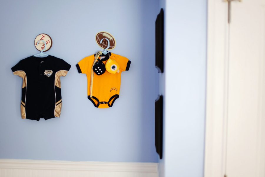 How to  Vintage Sports Nursery   Mohawk Home chargers  padres  baby nursery  clothes as decor  baby clothes  sports  nursery