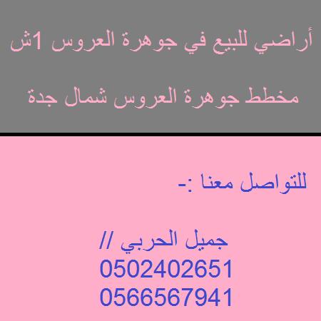 أراضي للبيع في جوهرة العروس 1ش