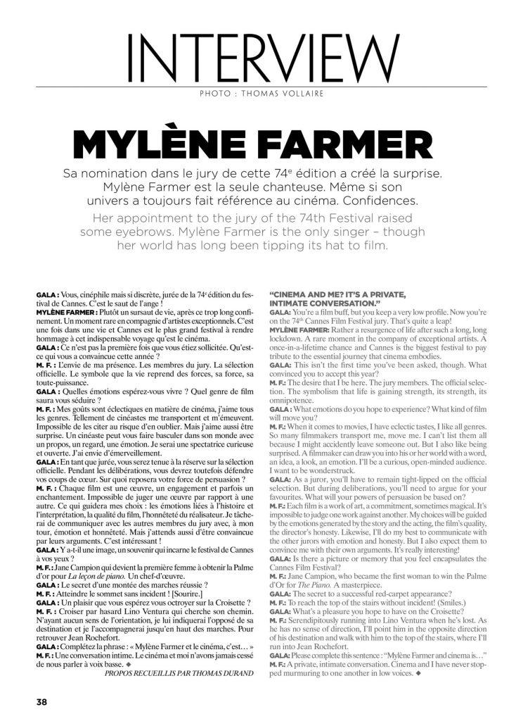Interview de Mylène Farmer pour Gala Croisette