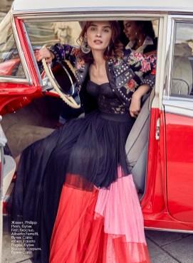 Jacket, Philipp Plein, First boutique; lingerie, Alberta Ferretti, Cara boutique; skirt, Fausto Puglisi, Rococo boutique; earrings, Cara boutique