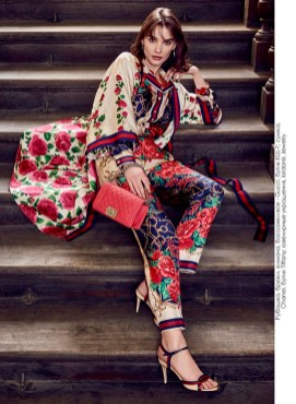 Shirt, pants, kimono, shoes, all - Gucci, KUL-T boutique; bag, Chanel, Tiffany boutique; jewelry, Iordanis Jewelry