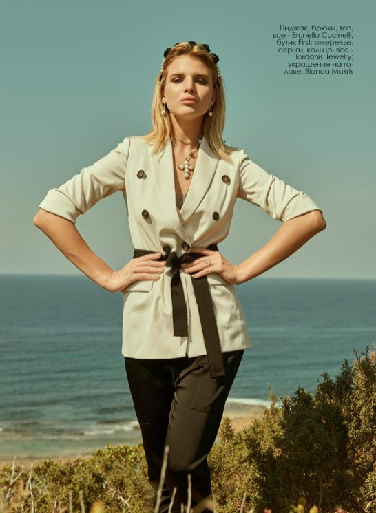 Blazer, trousers, top, all - Brunello Cucinelli, First; necklace, earrings, ring, all - Iordanis Jewelry; headpiece, Bianca Makris