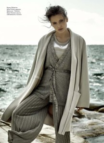 Blouse, D.Exterior, Timinis boutique; cardigan, trousers, all - Falconeri, Falconeri boutique; coat, stylist's wardrobe
