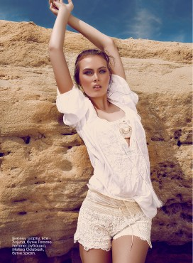 Bikinis, shorts, all - Anjuna, Femme-Femme boutique; shirt, Melissa Odabash, Splash by the beach.