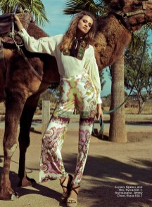 Blouse, trousers, all - Etro, KUL-T boutique; sandals, Jimmy Choo, KUL-T boutique