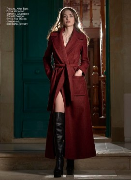 Coat, Alter Ego, Wanted boutique; boots, Giuzeppe Zanotti Design, Fior Shoes boutique; necklace, Ioardanis Jewelry