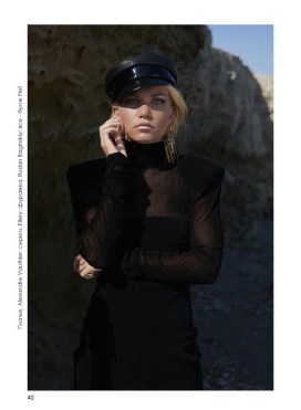 Dress, Alexandre Vauthier; earrings, Ellery; hat, Ruslan Baginskiy; all - First boutique