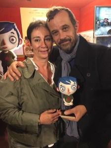 Claude Barras et « Courgette » en compagnie de Françoise Lapaire, vice-présidente de Moi pour Toit.