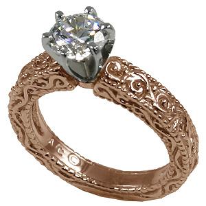 14k Rose Gold Moissanite Antique Victorian Engagement