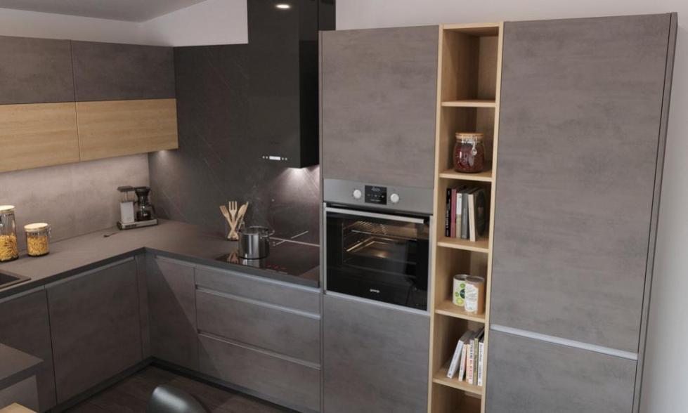 kuchynská linka cement-tmavý kuchyne Frozen elektro nitra