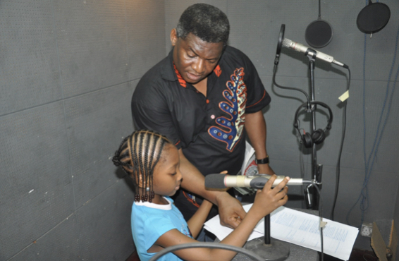 Renowned Nollywood Actor and Producer, FRANCIS ONWOCHEI and CHINAZA ONWOCHEI, members of the cast, during recording