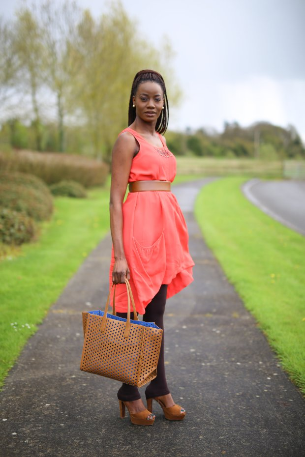 MONSOON CORAL HI LOW DRESS