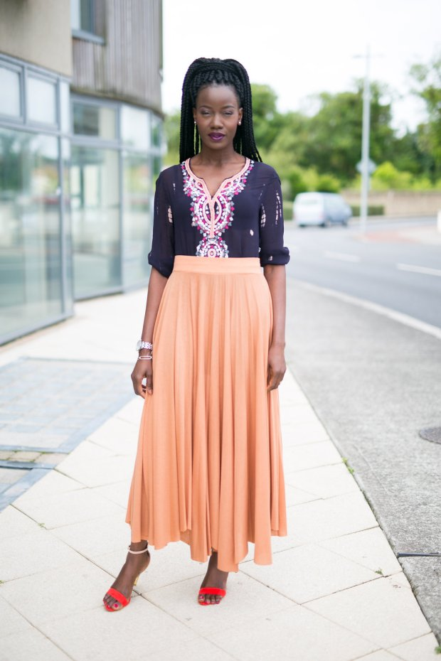 Peach_maxi_skirt_embellished_tunic