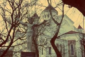 Uzupis in Vilnius. Jesus der Backpacker in Uzupis in Vilnius