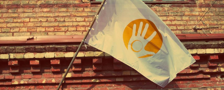 Uzupis in Vilnius. Die Flagge vo Uzupis