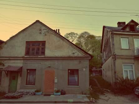 Uzupis in Vilnius. Alte Häuser in Uzupis